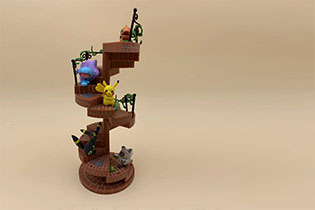 Pokemon Let Fun On Spiral Staircase